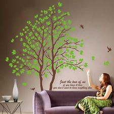 Large Green Lovers Tree Art Mural Removable Vinyl Decal Home Decor Wall Stickers