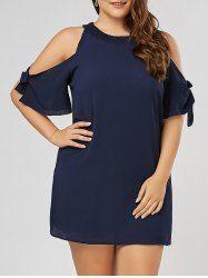 Bowtie Chiffon Slit Sleeve Plus Size Mini Dress