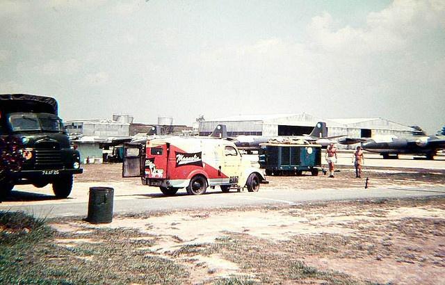 RAF Tengah, Singapore 1963. The Magnolia Man's van can be seen in the photo.