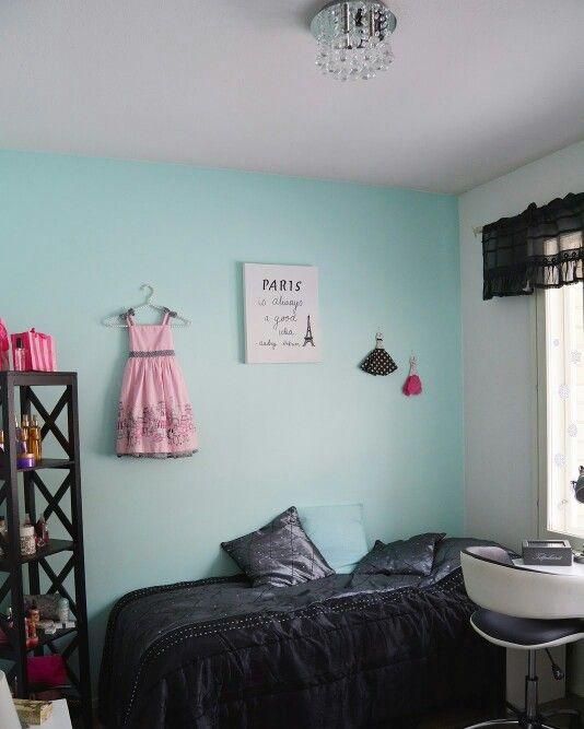 Mint Paris room ♡ Teenagers room ♡ Paris, mint, room, teenagers, eiffeltower