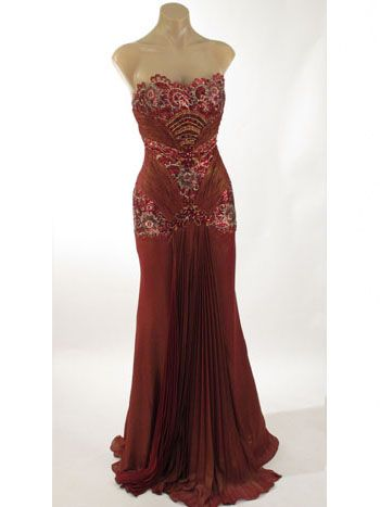 Strapless Beaded Burgundy Old Hollywood Glamour Evening Dress
