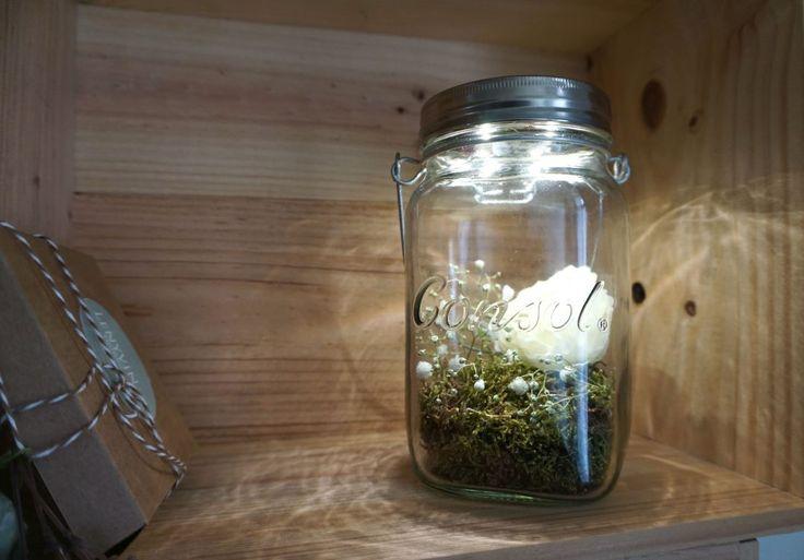 DIY fleurs consol jar solar jar