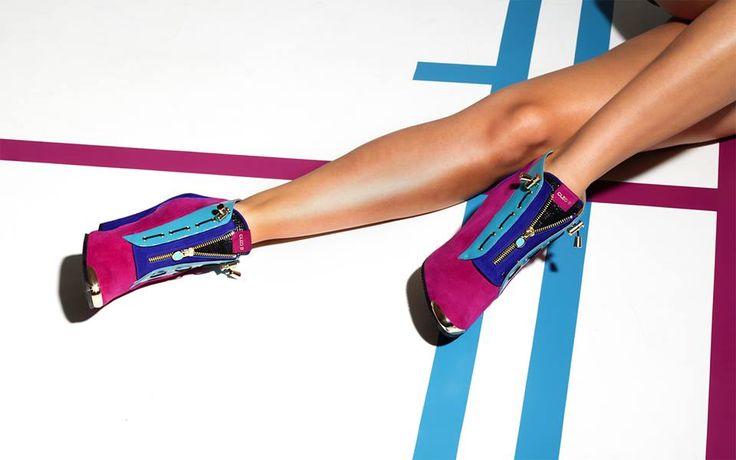 CLEO B 'Pixel' campaign shoot featuring 'Ironhide' shoe boots #pixel #collection #ironhide #shoe #boots #model #purple #turquoise #photoshoot #fashion #designer #london #style
