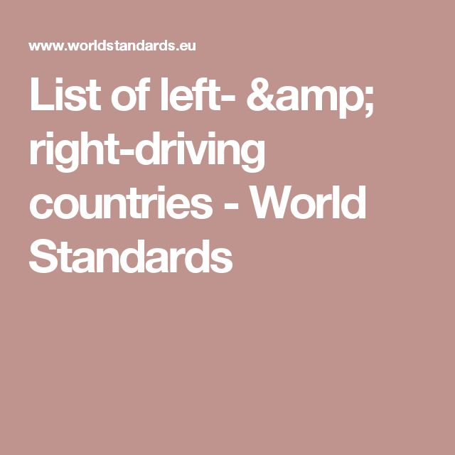 List of left- & right-driving countries - World Standards