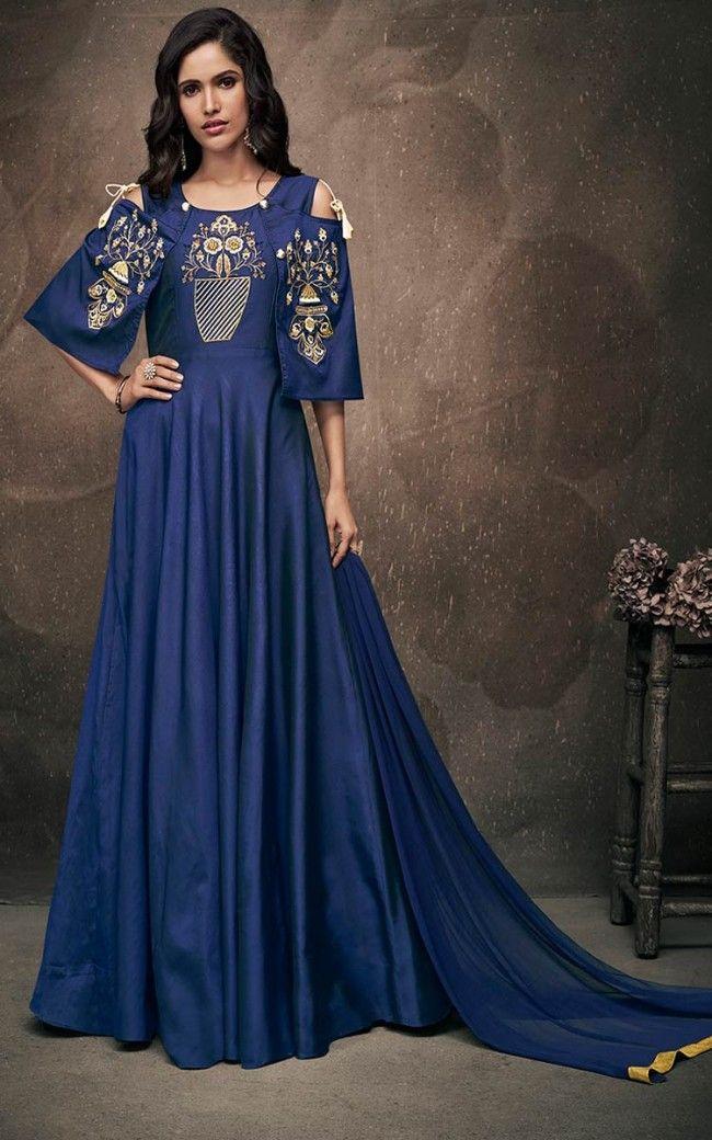 c966264a62ed8 Navy Blue Soft Taffeta Silk Salwar Kameez | Salwar Kamee | Dresses ...