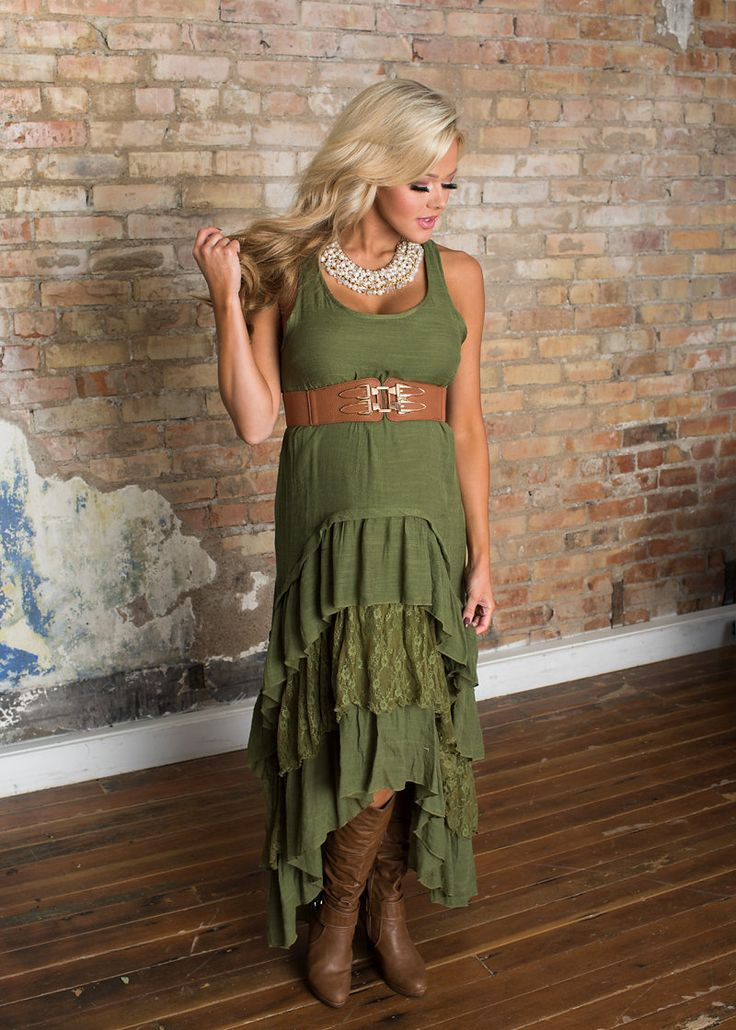 Modern Vintage Boutique - Country Club Ruffle Lace Dress Olive, $54.00 (https://www.modernvintageboutique.com/country-club-ruffle-lace-dress-olive.html/)