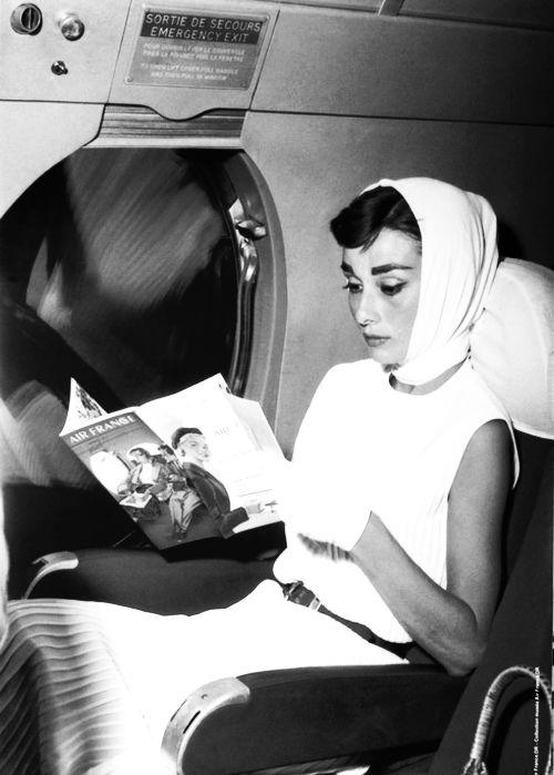 Audrey Hepburn in flight.