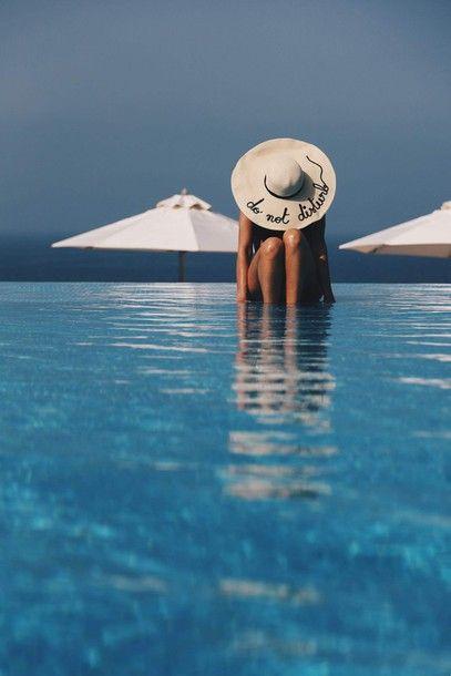 $20 - $50 Large Oversized Beige Straw Floppy Summer Beach Hat With Black Do Not Disturb Logo Embroidery Plain Black Minimalist Simple Backless Scoop Back One Piece Swimsuit Swimwear Beachwear Tumblr