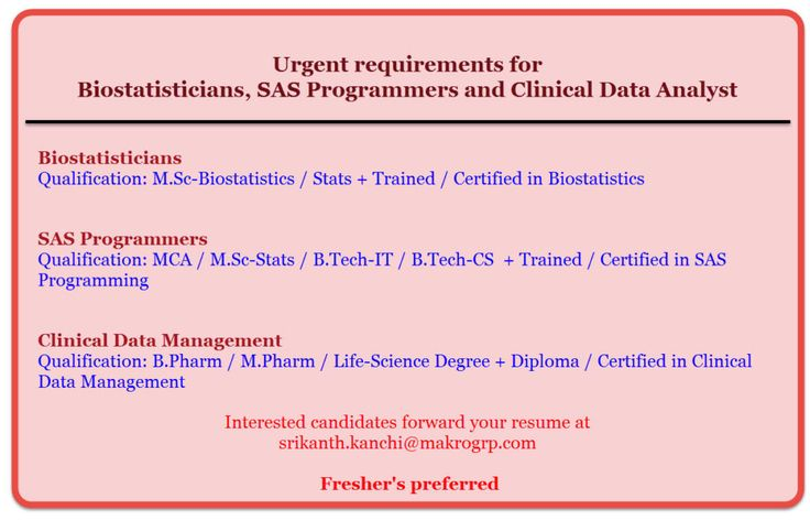 Urgent requirements for Biostatisticians, SAS Programmers and Clinical Data Analyst