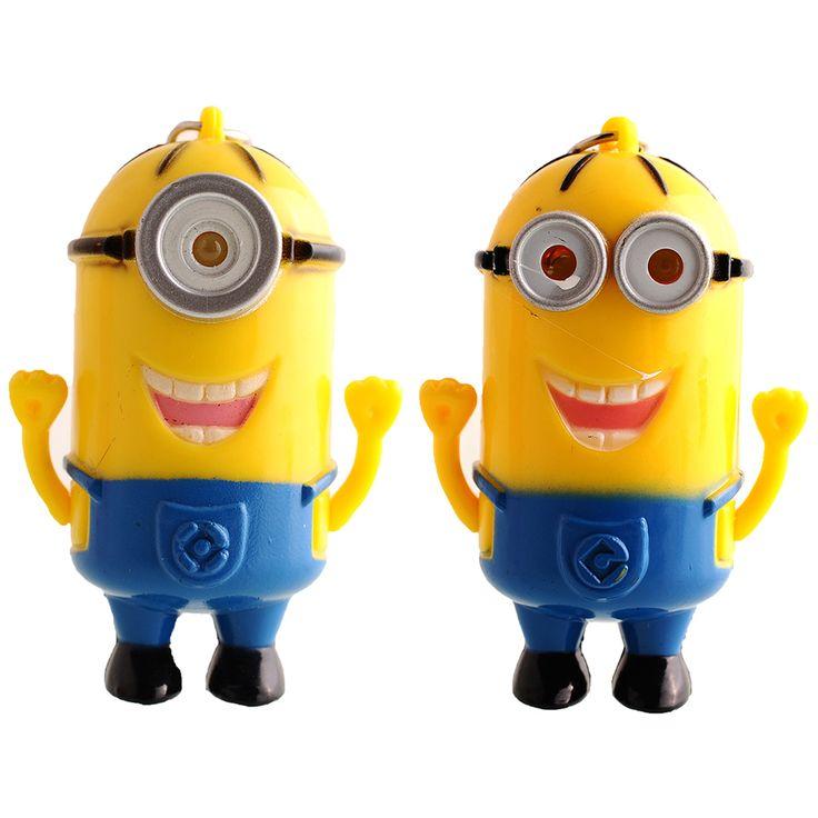 Миньоны детские игрушки новый звук куклы брелок миньоны гадкий я 3D мини миньоны из светодиодов брелок детей фигура игрушки крышка купить на AliExpress