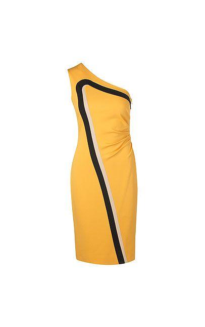 Asymmetrisches Kleid mit femininen Raffungen an einer Seite. Die kontrastfarbenen Rennstreifen bringen Dynamik in die Optik und fungieren als charmanter Eyecatcher.#MODELFIT: Das Model trägt die Größe 36, bei einer Körpergröße von 181 cm und einem Taillenumfang von 60 cm.#Asymmetrischer Schnitt|Feminine Raffungen an der Seite|Kontrastfarbene Streifen