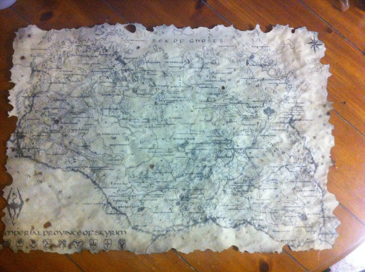 This cost about 2 bucks to make. Find a hi-res Skyrim map online, go to Staples and print it at 18x24 b/w, brew some tea and use the tea bag to paint the entire map like a paintbrush, bake the map in the oven at 200 for about 6 minutes, burn the edges of the map with a good cigar (and enjoy smoking a good cigar) and that's all! FUS-RO-DAH! Now to find a nice frame...