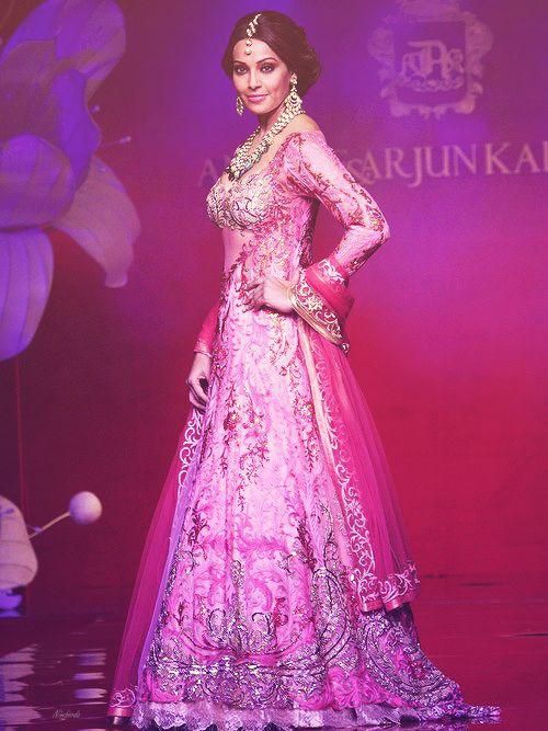Pink Lehenga with heavy embroidery and embellishments Bipasha Basu