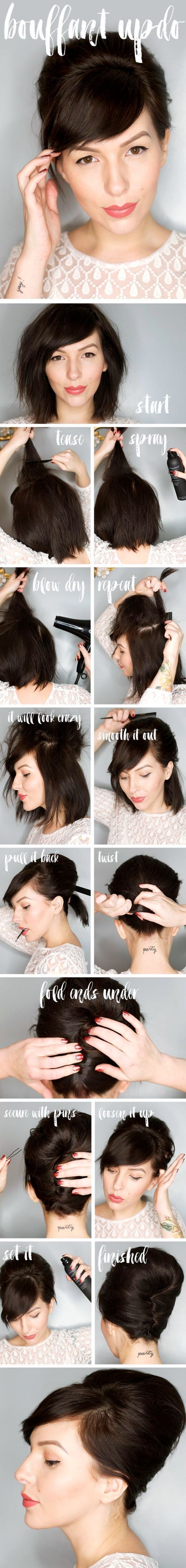 Easy-Hairstyles-for-Women-with-Short-Hair #BouffantHairBob
