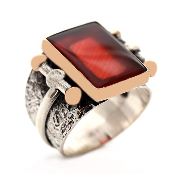 Akik taşlı, otantik el işciliği ,925 ayar gümüş erkek yüzüğü