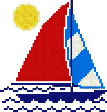 "FREE cross-stitch pattern - downloadable - Sailboat  59 x 62 stitches.  4.2"" x 4.4"" stitched on 14 count.  3.3"" x 3.4"" stitched on 18 count.  Number of colors: 8  Difficulty level: Easy"