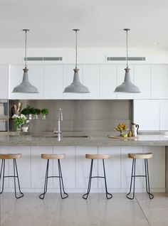 stools & pendant lights #kitchen #home #interior