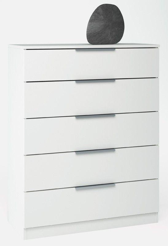 Space Kommode - Hvid kommode i enkel stil med 5 rummelige skuffer til opbevaring. Den øverste skuffe er delt op i 2 mindre rum så man også nemt kan få orden i småting. Kommoden kan stort set anvendes i alle hjemmets rum på grund af møblets enkle look. Kombiner evt. med andre møbler i Space-serien.