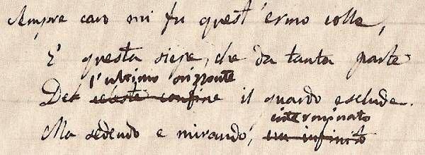 Giacomo Leopardi, L'infinito, fg.