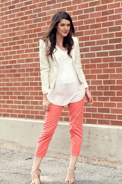 I must have these coral pants, I must! Every time  she styles them I fall more and more in love.