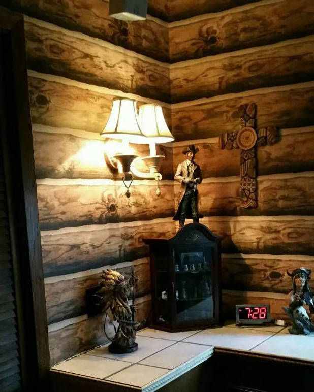 Log Wallpaper! Rustic Cabin Lodge Pre-Pasted Double Roll made in the U.S.A. in Home & Garden, Home Improvement, Building & Hardware | eBay