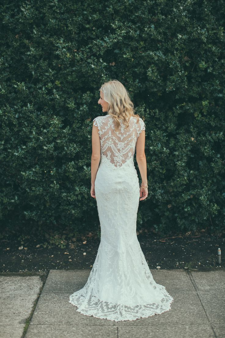 Real bride Whitney in the Claire Pettibone 'Chantilly' wedding dress via The Dress Theory http://www.clairepettibone.com/bridal/?cp=gowns/chantilly ; Twigs & Honey bridal headpiece | Photo: Chantal Andrea ft. on Style Me Pretty