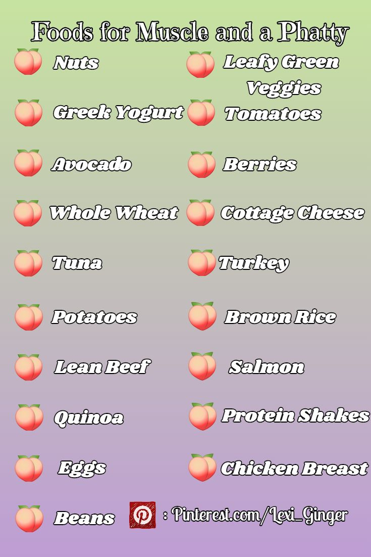 All of these foods are chosen specifically for growing muscle and a big phat booty! I eat these regularly to maintain my small waist and big butt! Follow me for more pins and check out my Build-a-Butt workout too!