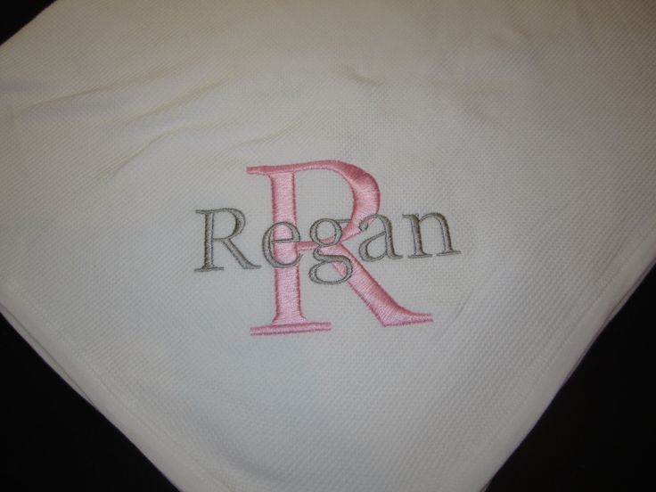 Monogrammed Baby Blanket - Pink and Gray