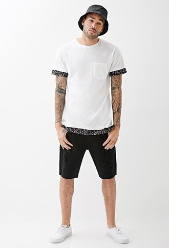 Clean Wash Distressed Denim Shorts