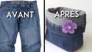 recycler un jean en panier de rangement