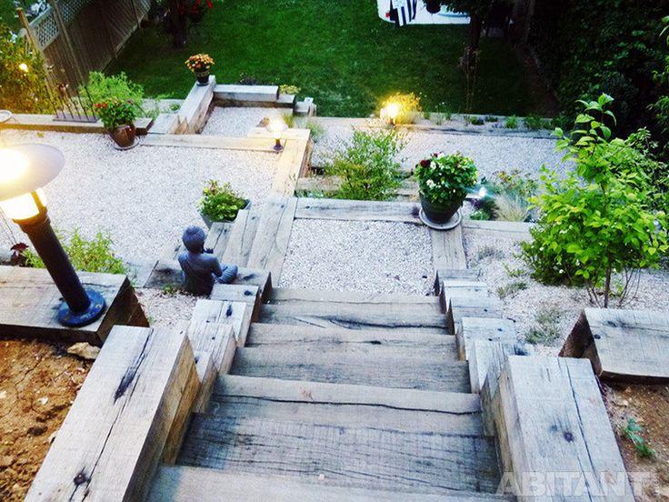 Садовая лестница из массивного бруса
