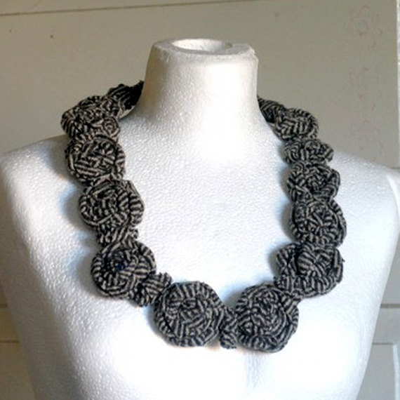 Necklace wool Necklace upcycled Wool rosettesOOAK by recyclingroom, $45.00