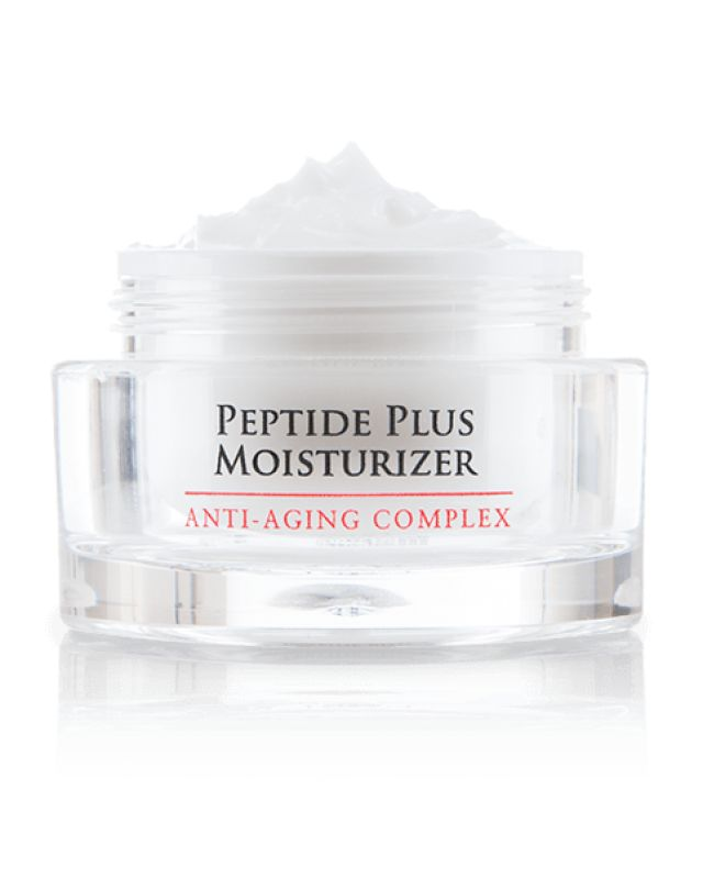 Peptide Plus Moisturizer:  Anti-Aging Complex Peptides make up the building blocks of the essential structural proteins that keep your skin firm, healthy, and youthful looking. The aging process, as well as environmental influences, naturally break down your skin's ability to reproduce these beautifying proteins. Peptide Plus Moisturizer, an intense anti-aging complex, replenishes the skin's supply of peptides, reducing the visible signs of aging.