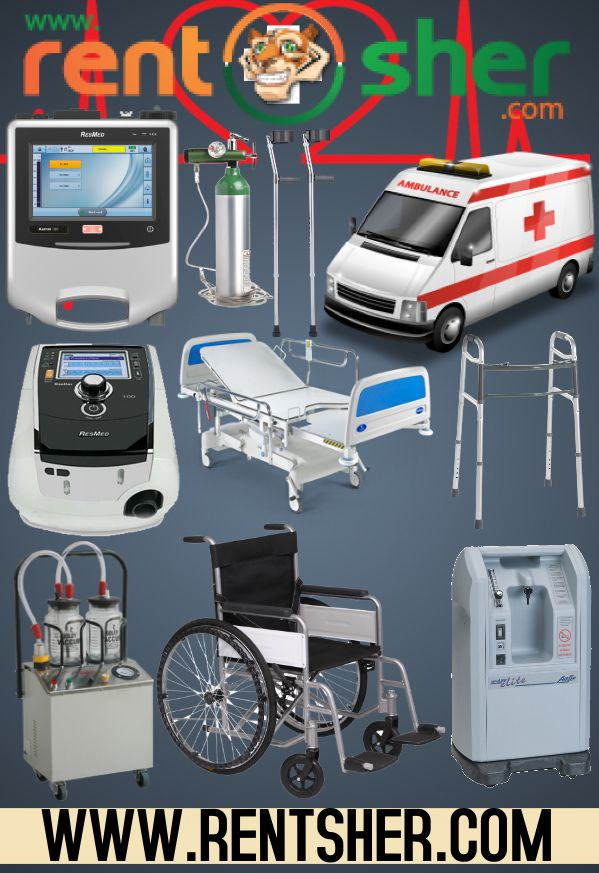 Rent medical products for the patient use in your home rather buying them spending huge amount of money. You can rent various medical products from #RentSher at very affordable prices. Visit our RentSher to #Rent #VentilatorStellar, #VentilatorAstral, #SuctionApparatus, #FoldingWalker, #ElbowCrutches, #MedicalCot, #OxygenConcentrator, #OxygenCylinder, #Ambulance, #WheelChairs and many more at affordable cost with delivery and pickup cross Bangalore.  www.rentsher.com