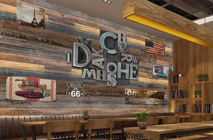 Wooden Wall With Typographyc Metal Letters Usa Flag Art Wall Murals Wallpaper Decals Prints Decor IDCWP-JB-000800