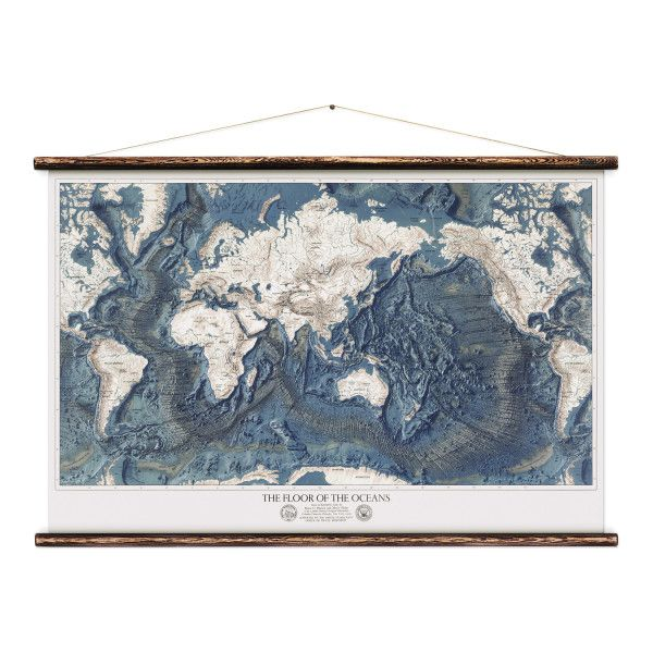 This reproduction is of the wall map The World - Ocean Floors and Land Relief. originally published in 1976 by the United States Navy Office of Naval Research,