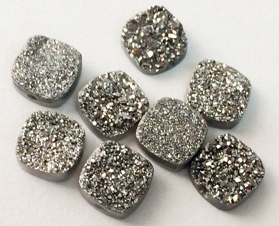 4 Pcs 10mm Matched Pair Charcoal Druzy Titanium by gemsforjewels