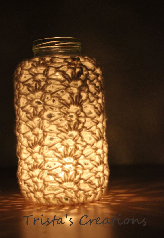 crochet lace jar cover - candle cozie for weddings, home, decor house warming etc. via Etsy