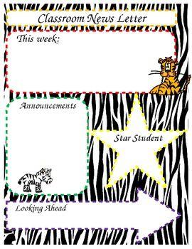 jungle theme classroom   Editable Safari / Jungle Theme Classroom News Newsletter