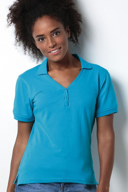 Polo de damă Sophia V-Neck Comfortec Kustom Kit din 98% bumbac și 2% lycra #personalizare #tricouri #polo #broderie #serigrafie