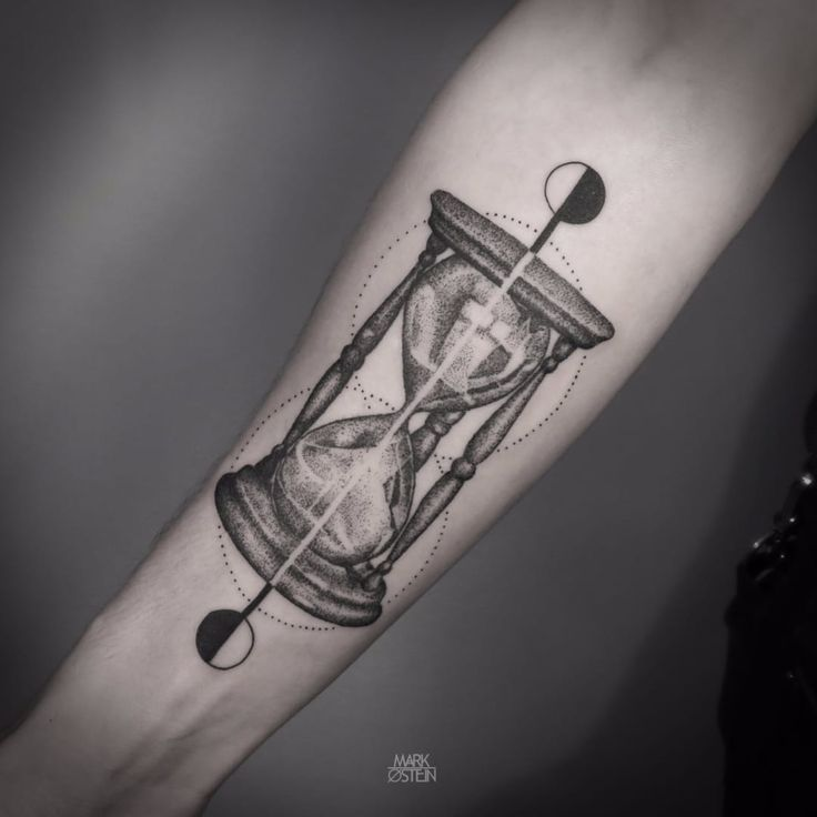 Blackwork Hourglass Tattoo by Mark Ostein #BlackworkHourglass #Hourglass…