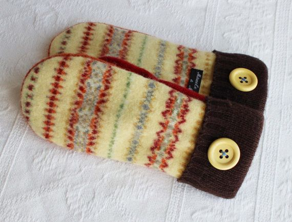 wool mittens felted wool mittens fleece lined by miraclemittens, $38.00