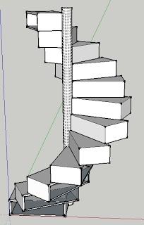 Little House: Folding spiral staircase/bookshelf/bureau