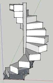 Little House: Folding spiral staircase/bookshelf/bureau