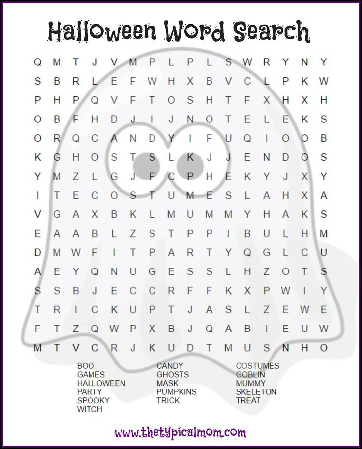 Here are several free Halloween word search printables pages you can give your kids or students! LOTS of free Halloween printable pages here. via @thetypicalmom