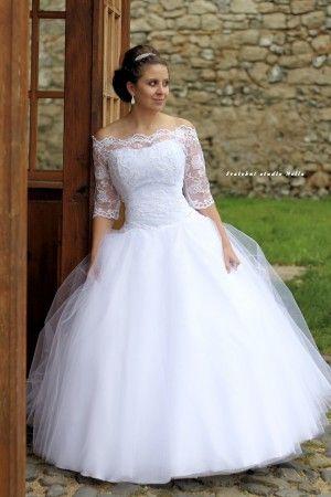 Wedding Dresses White Lace Dress Tulla - Bílé svatební šaty s rukávy.  krajkou a tylovou sukní -Svatební studio Nella f0302fc779
