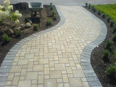 Astonishing Paving Stone Sidewalk Design With Small Landscape Ideas :  Lovely Landscaping Design With Paving Stone Design Ideas