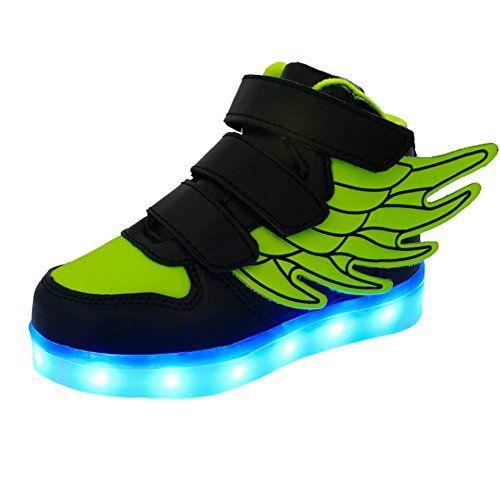 iBaste Kinderschuhe LED Sportschuhe Kinder mit Flügel USB Aufladen 7 Lichtfarbe LED Leuchtend Sport Schuhe PU Sneaker Turnschuhe für Kinder Jungen Mädchen 4 Farbe - http://on-line-kaufen.de/ibaste-9/ibaste-kinderschuhe-led-sportschuhe-kinder-mit-7-2