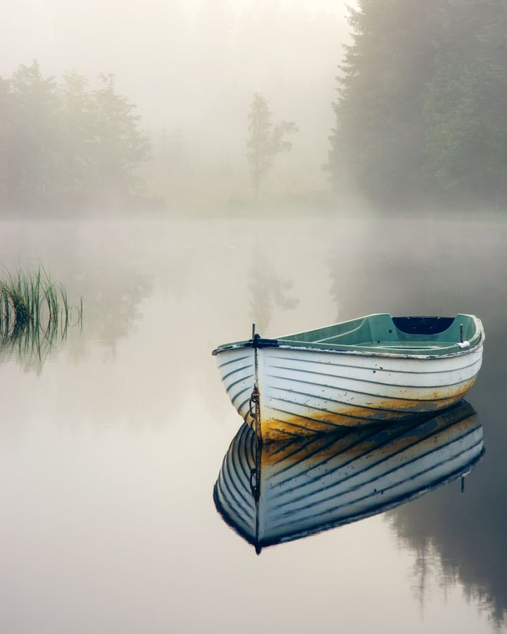 """""""Not another boat!!.. Loch Rusky morning mist..."""" by David Mould, via 500px."""