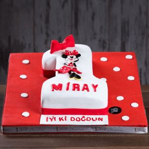 mini mouse 1 yaş doğum günü pastası, butik pasta, rakamlı özel pastalar